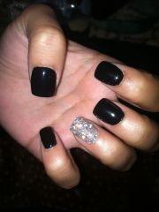 black gel nails with silver