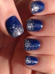 acrylic nails french tip blue