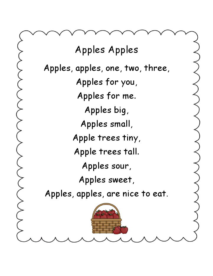 simple apples poem, could use this with head start and do
