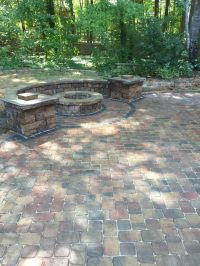 Pavestone paver patio, fire pit and seat walls with ...