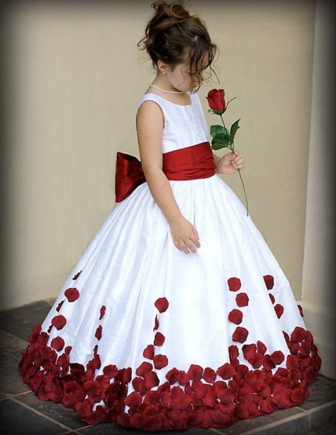 Flower girl - Red and white dress for wedding: