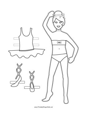 This free, printable ballerina paper doll is smiling and