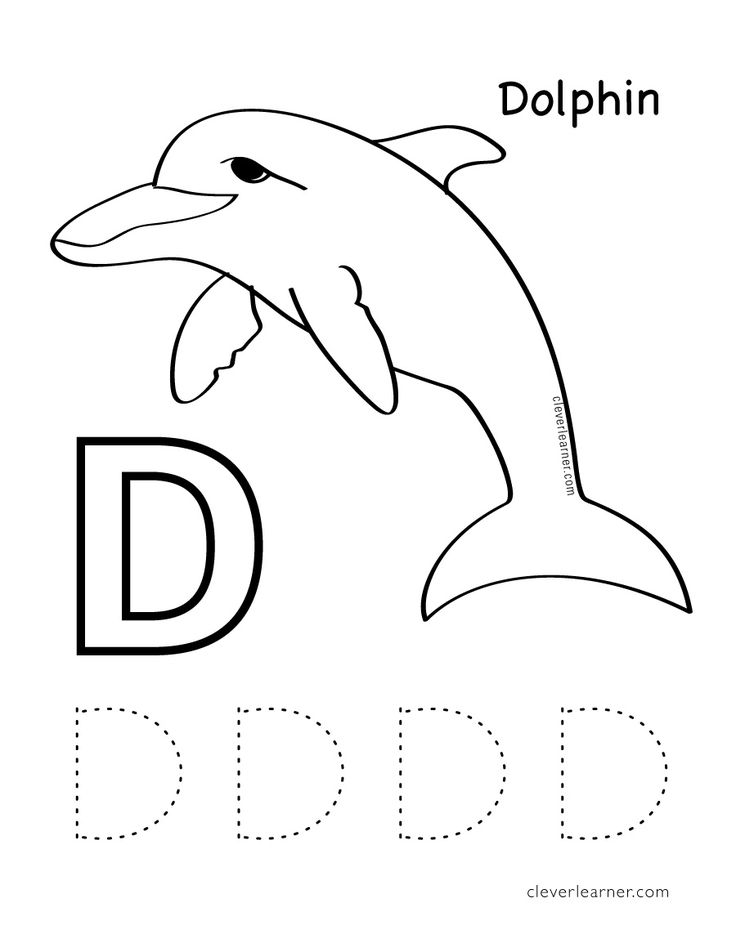 D is for Dolphin. Free Letter practice worksheets for