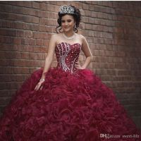 Burgundy Plus Size Ball Gown Sweet 16 Quinceanera Dresses ...