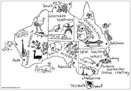 Australia map colouring page free printable. City