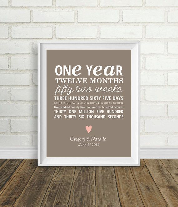 One Year Anniversary by PelletierCreative on Etsy 800  gift ideas  Pinterest  Love it One