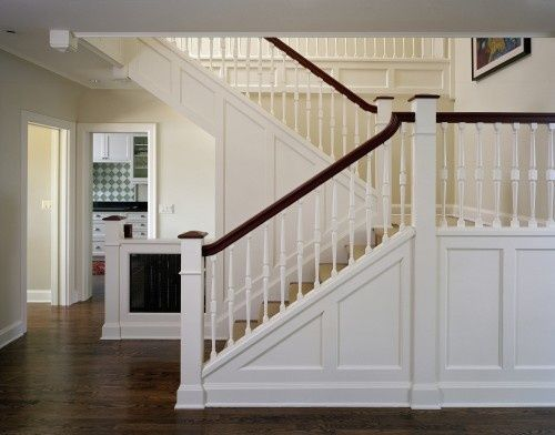 traditional switchback stairs  panelling handrail easing