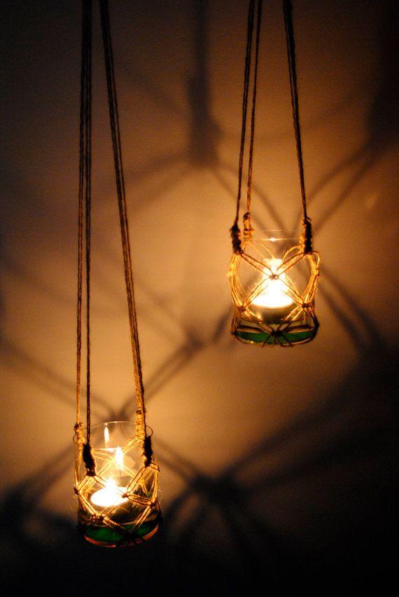 Two handmade macrame hanging candle holder, garden