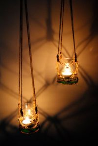 Two handmade macrame hanging candle holder, garden ...