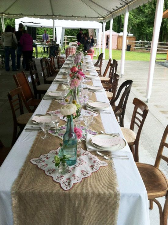 i do it yourself burlap table runners with vintage
