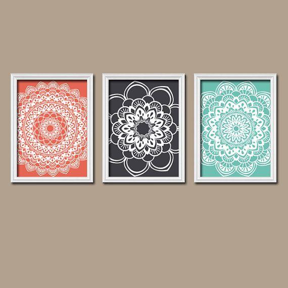 C Gray Aqua Wall Art Canvas Or Prints Bathroom Artwork Bedroom Pictures Flower Mandala Medallion Set Of 3 Decor