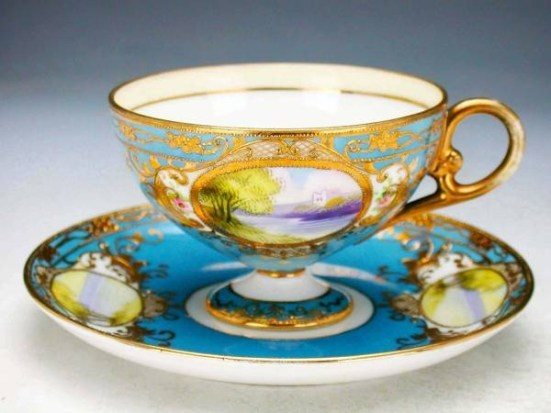 Old Noritake gold Sheng Ao ground landscape mon Figure cabinet cup _ image 3: