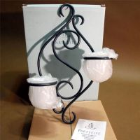 PARTYLITE 2 Candle Black Metal Wall SCROLL SCONCE Retired ...