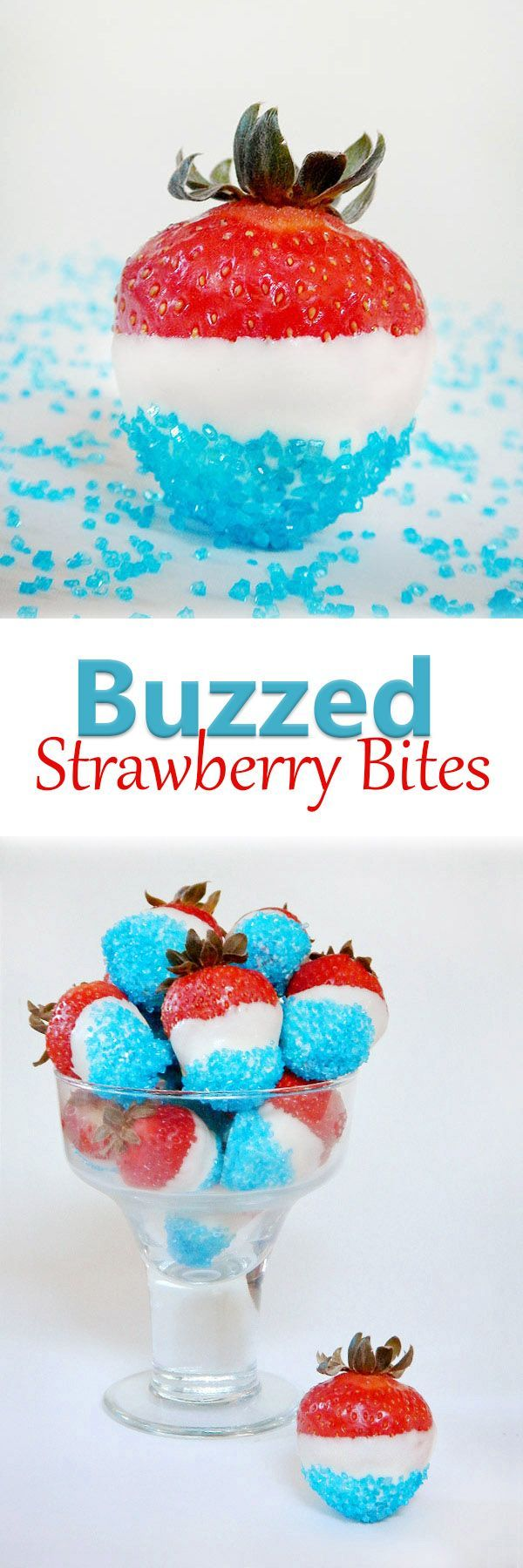 Buzzed Strawberry Bites Strawberries soaked in rum then covered in white chocolate and blue sprinkles. Per