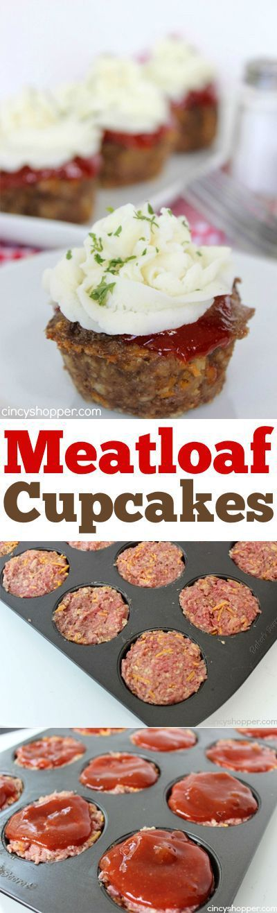 Meatloaf Cupcakes -Super fun twist on traditional meatloaf. Serve these mashed potato topped meatloaves fo
