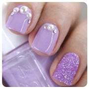 light purple nails with pearls