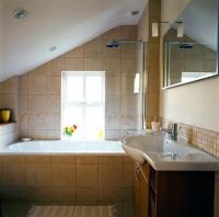 sloped wall bathroom | Sloped Ceiling over the bath tub in ...