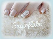 french manicure with snowflake