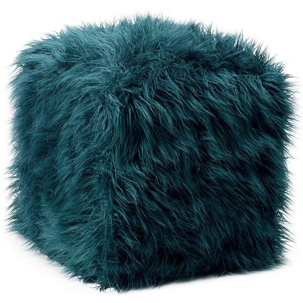 Ethan Allen Teal Faux Fur Pouf found on Polyvore  Top