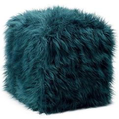 Bean Bag Chair Best Exercise Ball Ethan Allen Teal Faux Fur Pouf Found On Polyvore | Top Home Products Pinterest Room ...