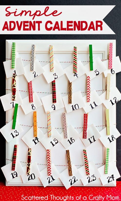 Make an Easy Advent Calendar using clothespins and washi tape. #advent #washitape #craft: