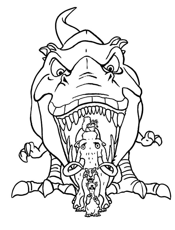 Dinosaur from Ice age coloring pages for kids, printable