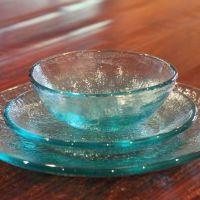 Fire & Light Salad Plates Set of 4 - Aqua  Recycled Glass ...