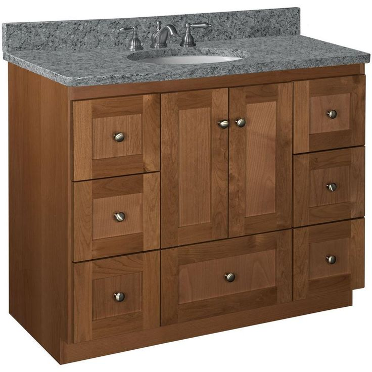 Simplicity by Strasser Shaker 42 in W x 21 in D x 345 in H Vanity Cabinet Only in Medium