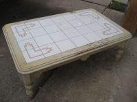 Distressed southwestern style large tile top coffee table ...