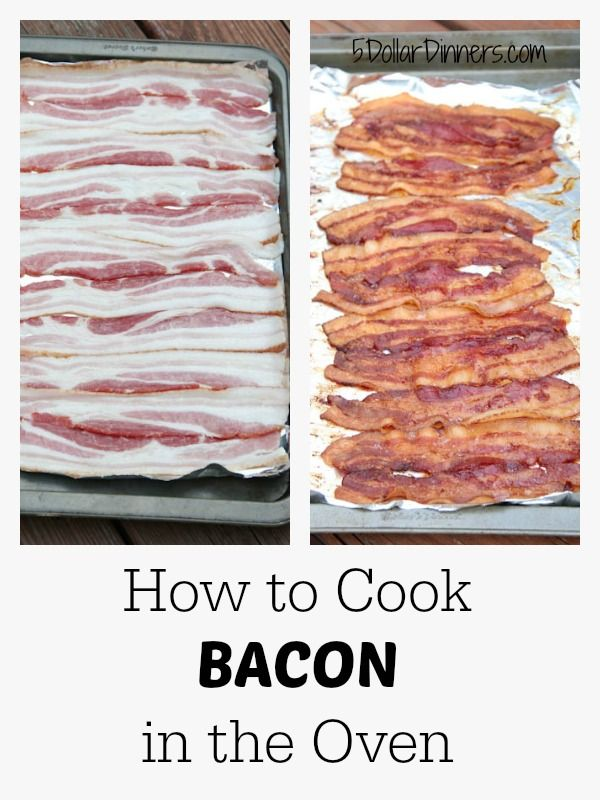 How to Cook Bacon in the Oven. Preheat oven to 350. Bake for 20 minutes.