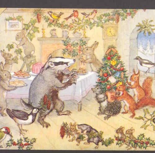 Animals Christmas Party Hedgehog Mice Rabbits Mole