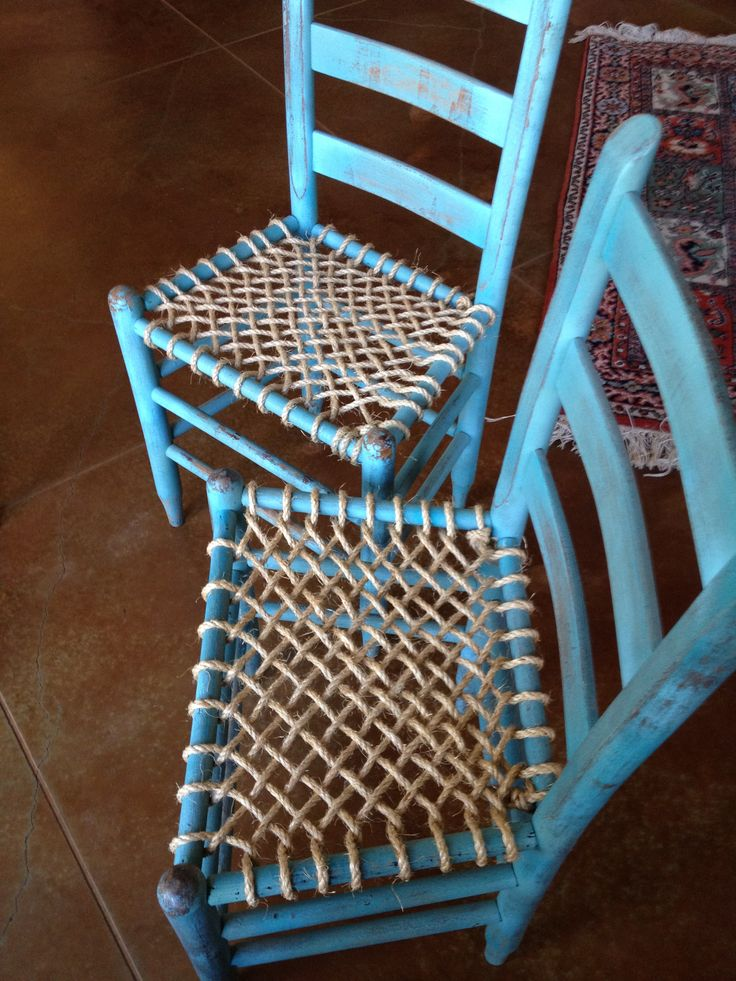 Chalk paint and rope seat bottoms I am pleased with the