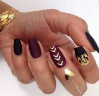Matte Wine Red & Black Square Tip Acrylic Nails w/ Gold ...