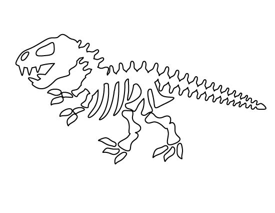 Dinosaur skeleton pattern. Use the printable outline for
