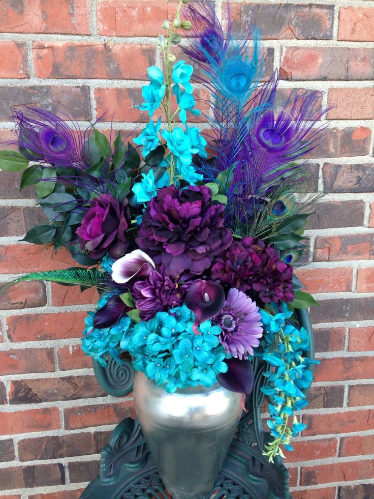 Purple and Turquoise Centerpiece  Peacock Feathers  Silk and True Touch Flowers Floral