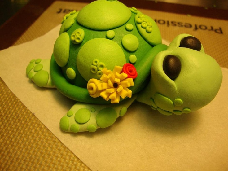 my polymer clay turtle tutorial   Cake Toppers by Krazy Kool Cakes  Designs in El Paso