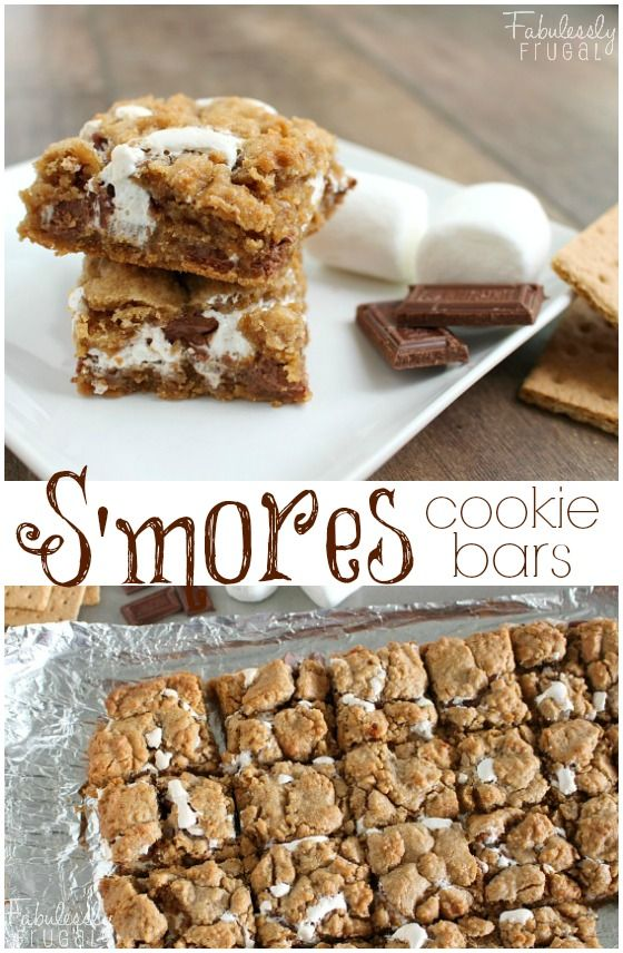 Delicious S'mores in cookie bar form! Mmm. Soft, buttery, graham cracker-flavored cookie bars with smooth