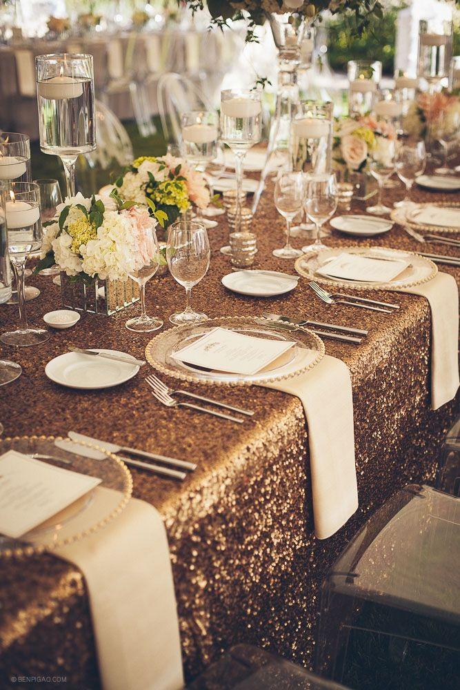 La Tavola Linen | Copper Sequin Linen  - possibly for the head table