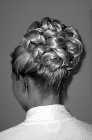 interwoven barrel curls bridal