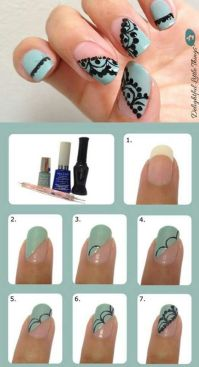 Easy nail design tutorial | Fashion | Pinterest | Lace ...