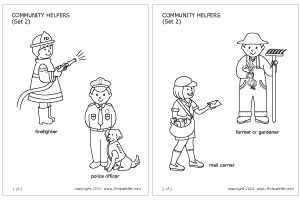 Community helpers, Coloring pages and Craft sticks on