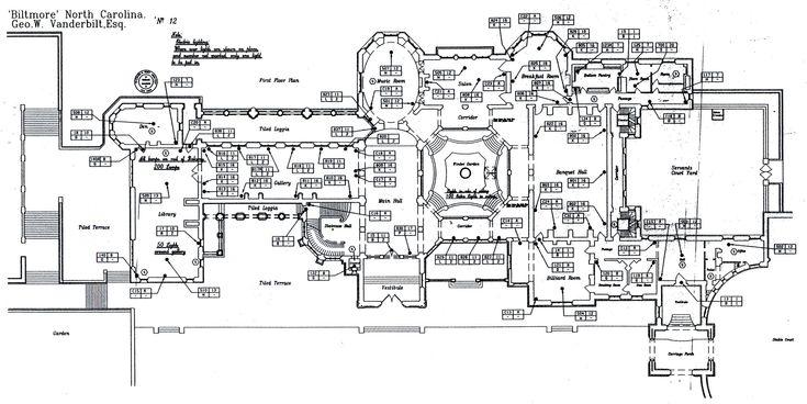 Biltmore House 1st floor blueprint  Biltmore Estate
