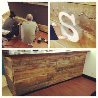 DIY Reclaimed barnwood Reception desk | Studio Interior ...