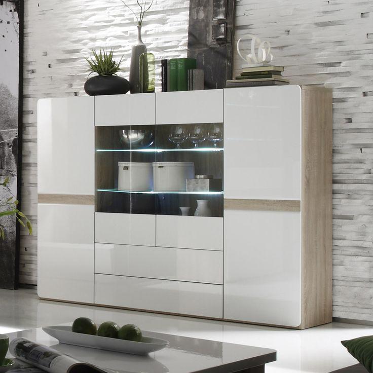 Buffet haut couleur bois et blanc laqu moderne ISIDORE 3  Buffet  Bahut  Enfilade