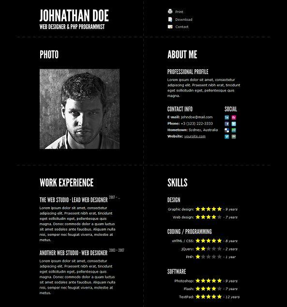 website templates for resume cv