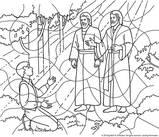 A black-and-white coloring page of Joseph Smith kneeling
