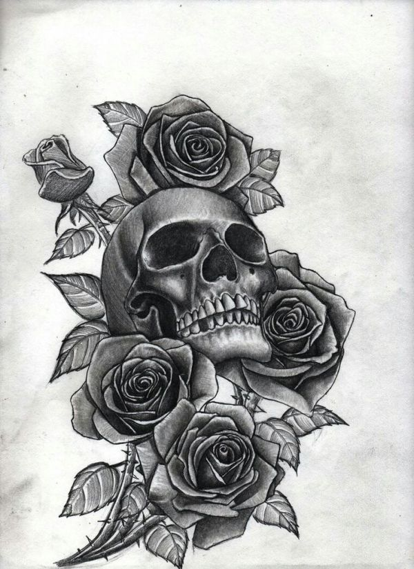 skull with roses tattoo's