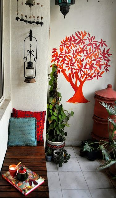 green cushions living room best carpet for and stairs decor balcony i colour | garden small spaces ...