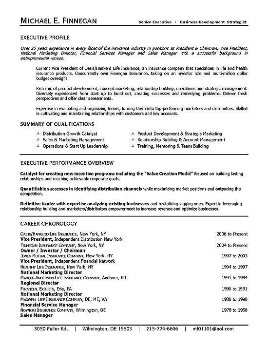 Life Insurance Resume Example Executive Resume Resume
