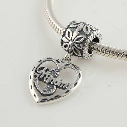 Grandma Heart Dangle Charm 925 Sterling Silver Charm Beads